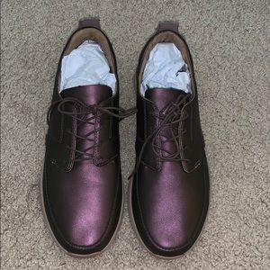 Purple Brown Leather Shoes